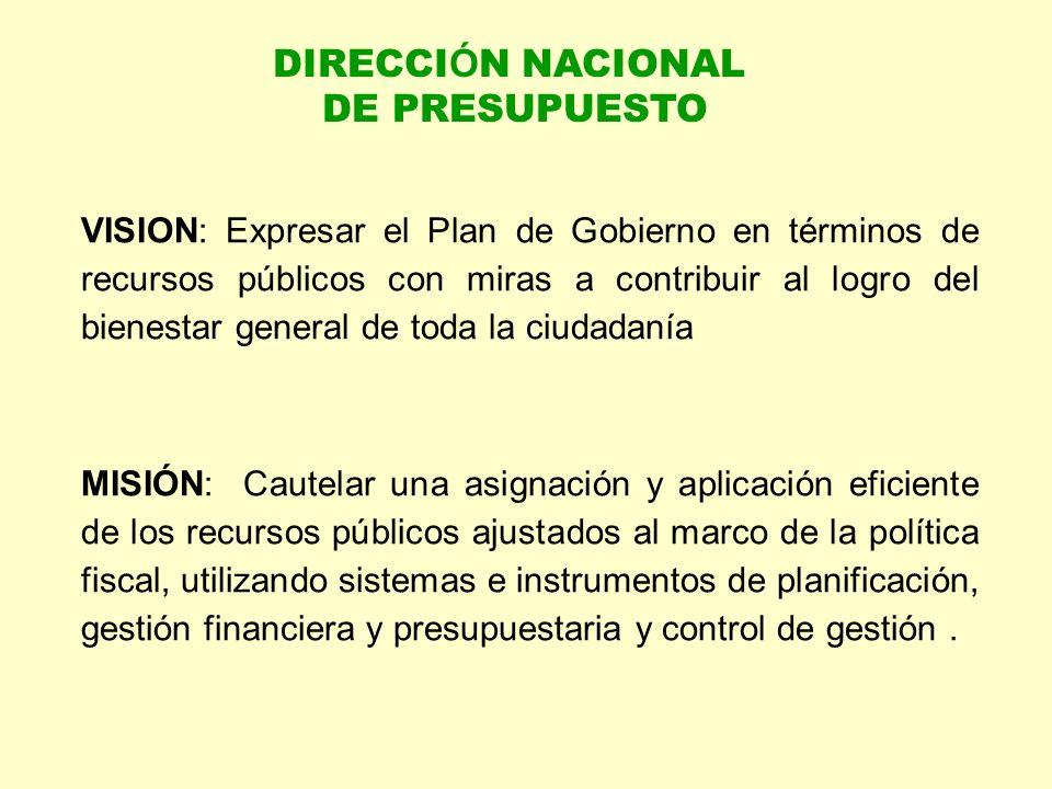 VISION: Expresar el Plan de Gobierno en términos de recursos públicos con miras a contribuir al logro del bienestar general de toda la ciudadanía MISI