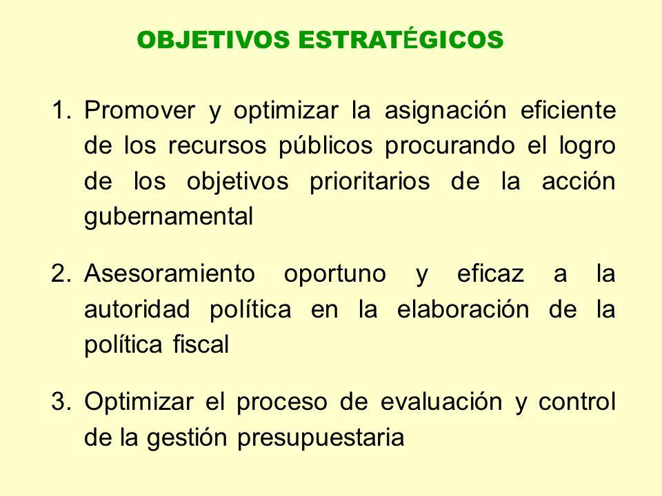 1.Promover y optimizar la asignación eficiente de los recursos públicos procurando el logro de los objetivos prioritarios de la acción gubernamental 2.Asesoramiento oportuno y eficaz a la autoridad política en la elaboración de la política fiscal 3.Optimizar el proceso de evaluación y control de la gestión presupuestaria OBJETIVOS ESTRAT É GICOS