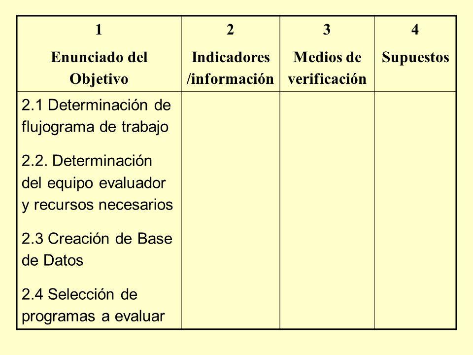 1 Enunciado del Objetivo 2 Indicadores /información 3 Medios de verificación 4 Supuestos 2.1 Determinación de flujograma de trabajo 2.2. Determinación