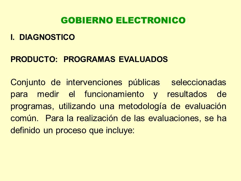 I. DIAGNOSTICO PRODUCTO: PROGRAMAS EVALUADOS Conjunto de intervenciones públicas seleccionadas para medir el funcionamiento y resultados de programas,