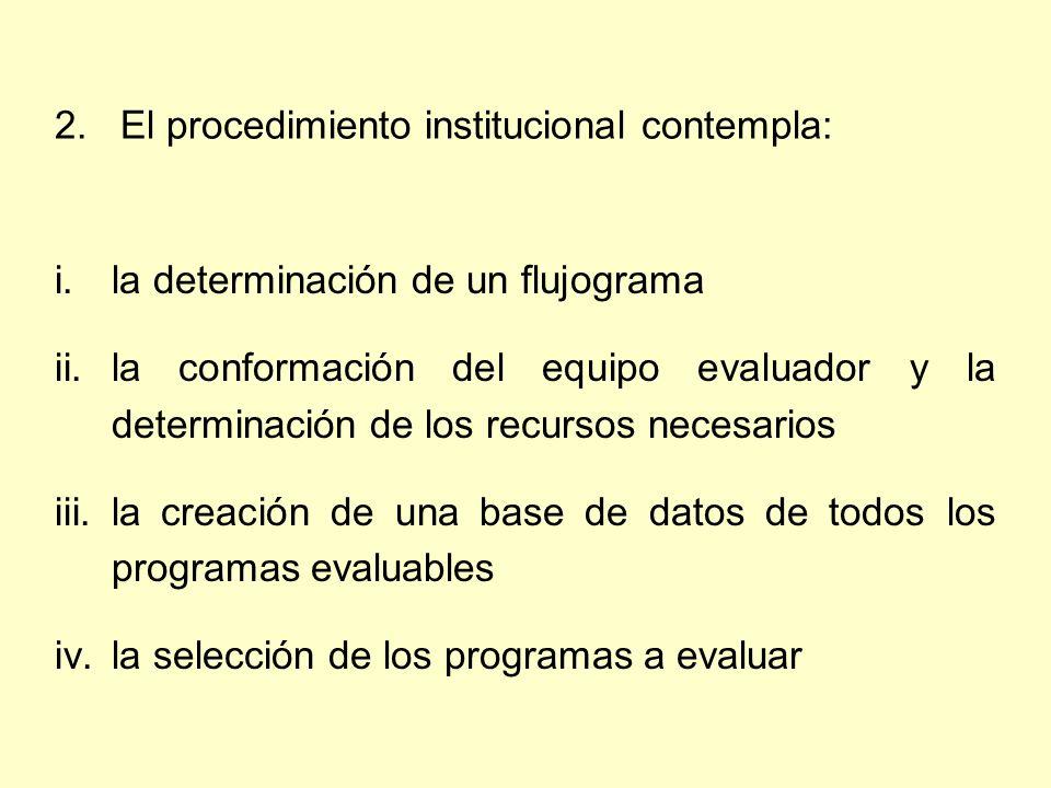 i.la determinación de un flujograma ii.la conformación del equipo evaluador y la determinación de los recursos necesarios iii.la creación de una base de datos de todos los programas evaluables iv.la selección de los programas a evaluar 2.