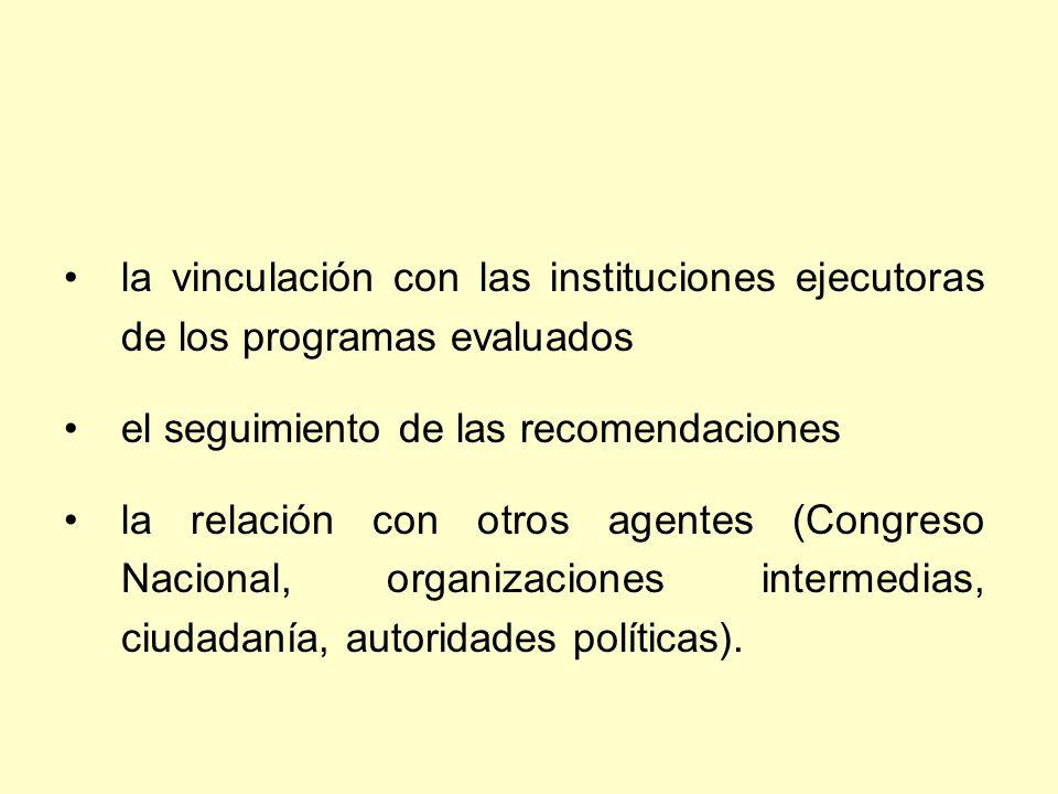 la vinculación con las instituciones ejecutoras de los programas evaluados el seguimiento de las recomendaciones la relación con otros agentes (Congreso Nacional, organizaciones intermedias, ciudadanía, autoridades políticas).