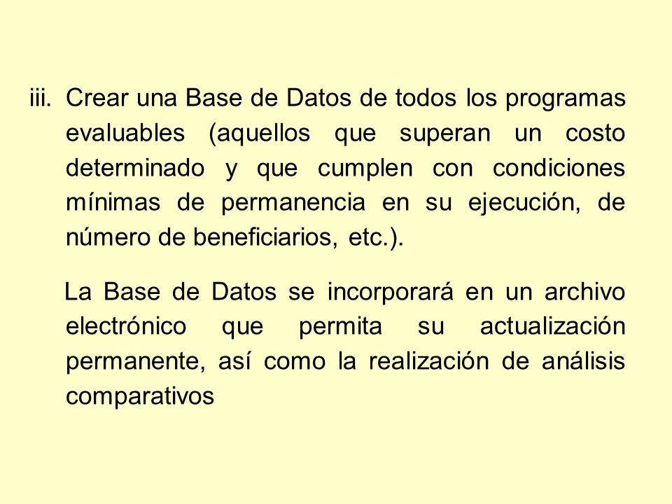 iii.Crear una Base de Datos de todos los programas evaluables (aquellos que superan un costo determinado y que cumplen con condiciones mínimas de permanencia en su ejecución, de número de beneficiarios, etc.).