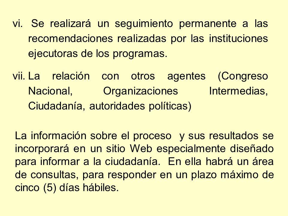 vi. Se realizará un seguimiento permanente a las recomendaciones realizadas por las instituciones ejecutoras de los programas. vii.La relación con otr