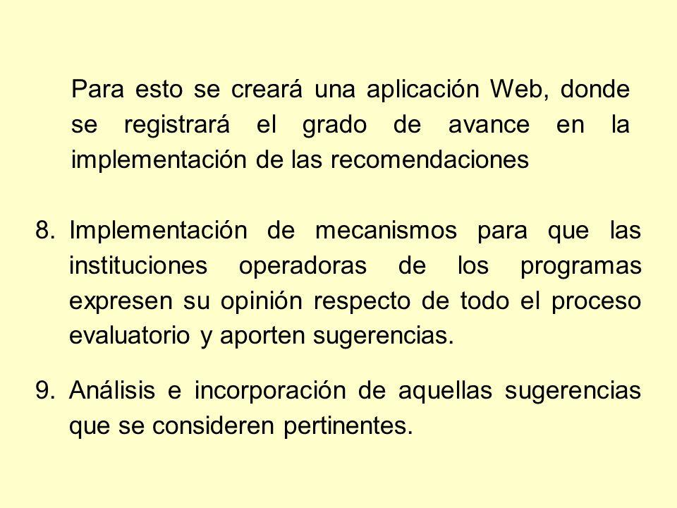 Para esto se creará una aplicación Web, donde se registrará el grado de avance en la implementación de las recomendaciones 8.Implementación de mecanismos para que las instituciones operadoras de los programas expresen su opinión respecto de todo el proceso evaluatorio y aporten sugerencias.