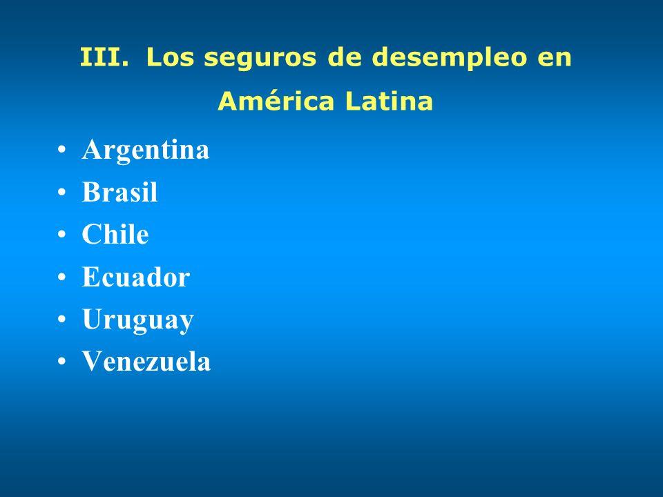 III.Los seguros de desempleo en América Latina Argentina Brasil Chile Ecuador Uruguay Venezuela