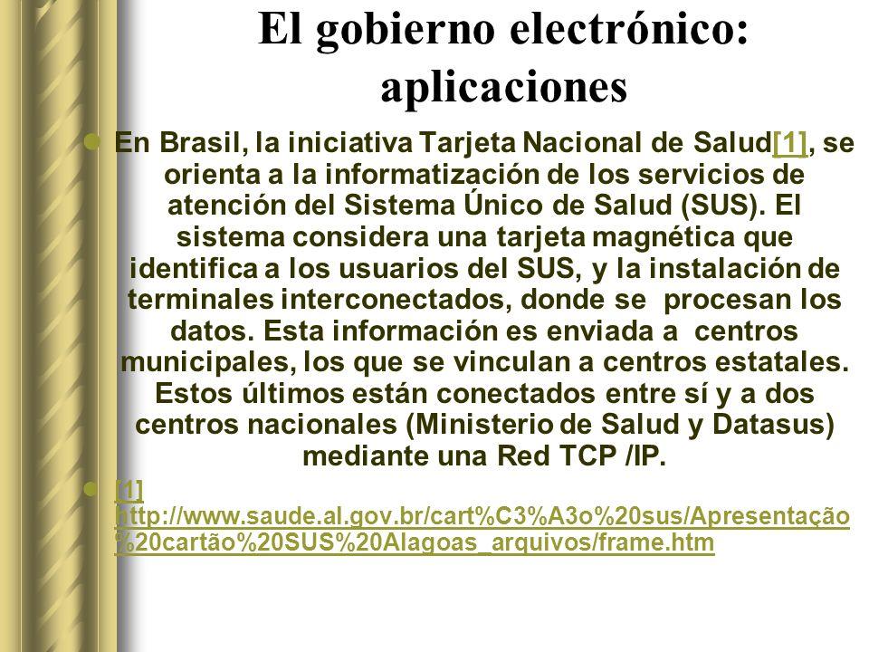 El gobierno electrónico: aplicaciones En Brasil, la iniciativa Tarjeta Nacional de Salud[1], se orienta a la informatización de los servicios de atención del Sistema Único de Salud (SUS).