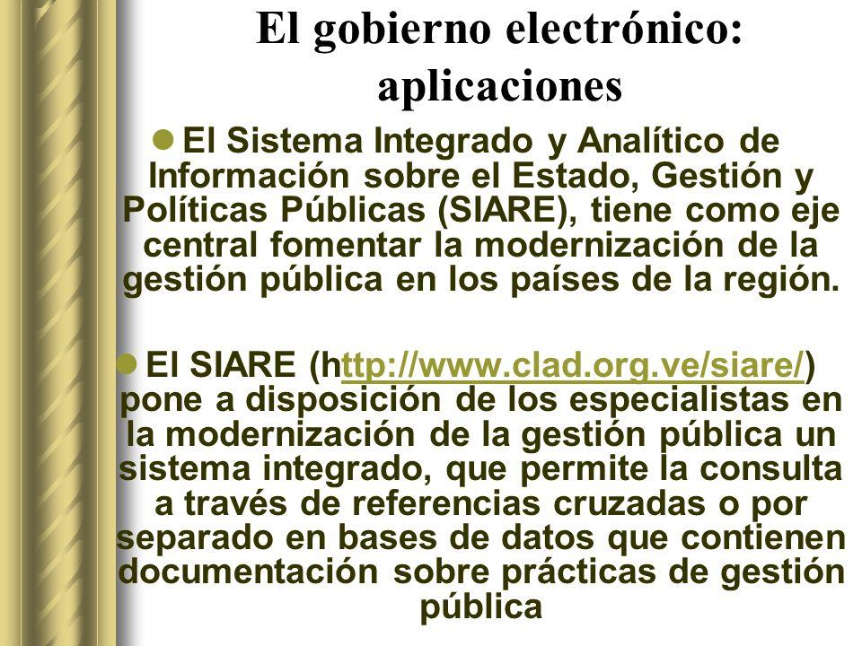 El gobierno electrónico: aplicaciones El Sistema Integrado y Analítico de Información sobre el Estado, Gestión y Políticas Públicas (SIARE), tiene como eje central fomentar la modernización de la gestión pública en los países de la región.