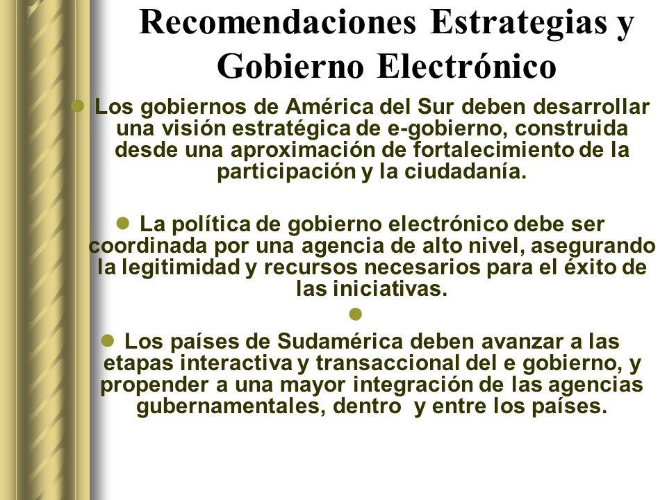 Recomendaciones Estrategias y Gobierno Electrónico Los gobiernos de América del Sur deben desarrollar una visión estratégica de e-gobierno, construida desde una aproximación de fortalecimiento de la participación y la ciudadanía.
