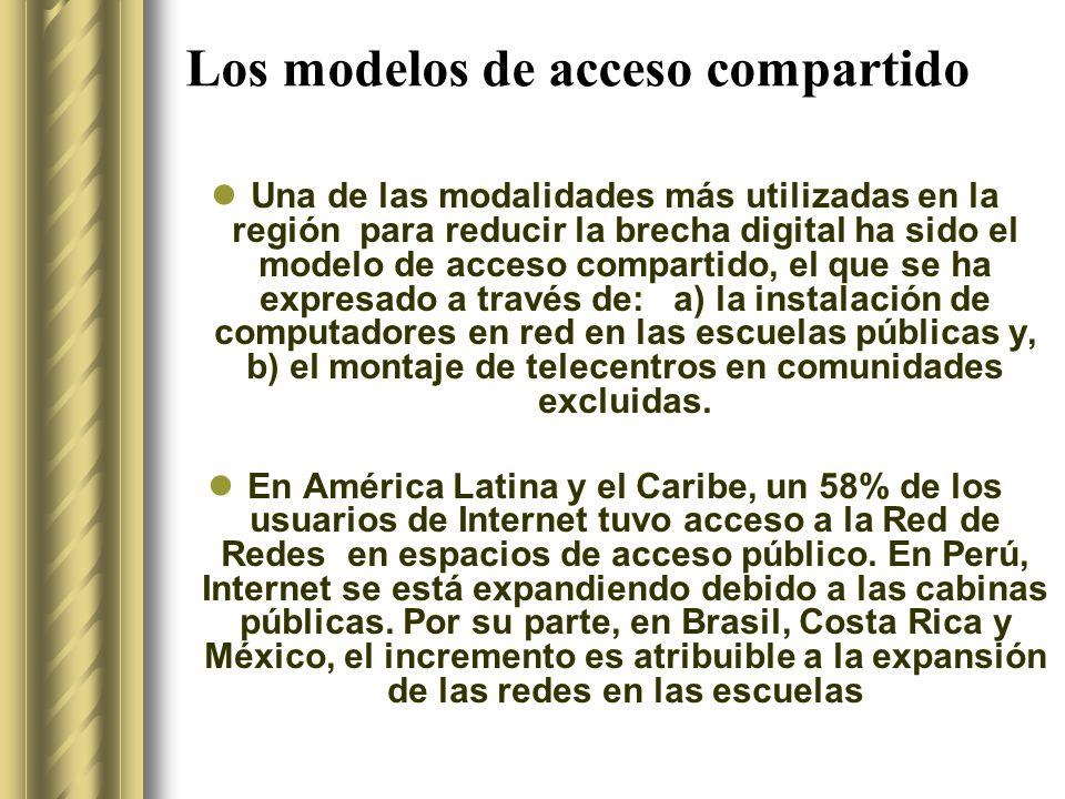 Los modelos de acceso compartido Una de las modalidades más utilizadas en la región para reducir la brecha digital ha sido el modelo de acceso compartido, el que se ha expresado a través de: a) la instalación de computadores en red en las escuelas públicas y, b) el montaje de telecentros en comunidades excluidas.