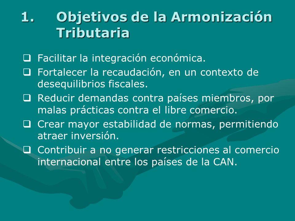 El Proceso de Armonización 1.Los Objetivos de la Armonización Tributaria. 2.Las etapas del proceso de la armonización tributaria en los Países de la C