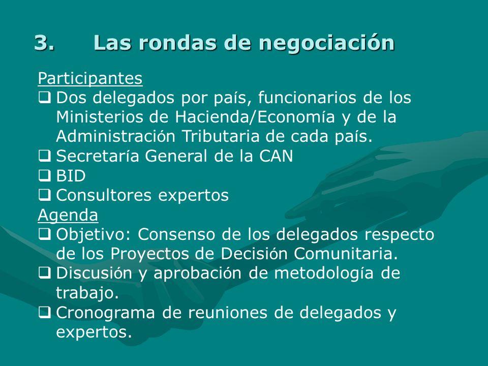 Elaboración de los Proyectos de Decisión Comunitarios Paso Nº 7 Rondas de negociación de delegados de los países de la CAN. Aprobación de Vice Ministr