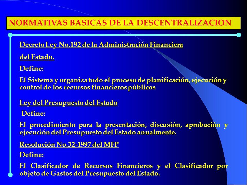 NORMATIVAS BASICAS DE LA DESCENTRALIZACION Decreto Ley No.192 de la Administración Financiera del Estado. Define: El Sistema y organiza todo el proces