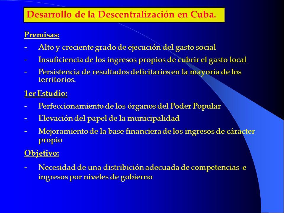 Desarrollo de la Descentralización en Cuba. Premisas: -Alto y creciente grado de ejecución del gasto social -Insuficiencia de los ingresos propios de