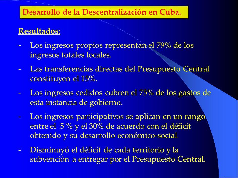 Desarrollo de la Descentralización en Cuba. Resultados: -Los ingresos propios representan el 79% de los ingresos totales locales. -Las transferencias
