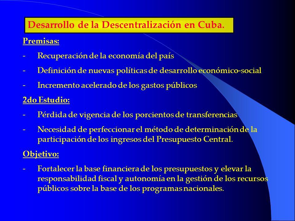 Desarrollo de la Descentralización en Cuba. Premisas: -Recuperación de la economía del país -Definición de nuevas políticas de desarrollo económico-so