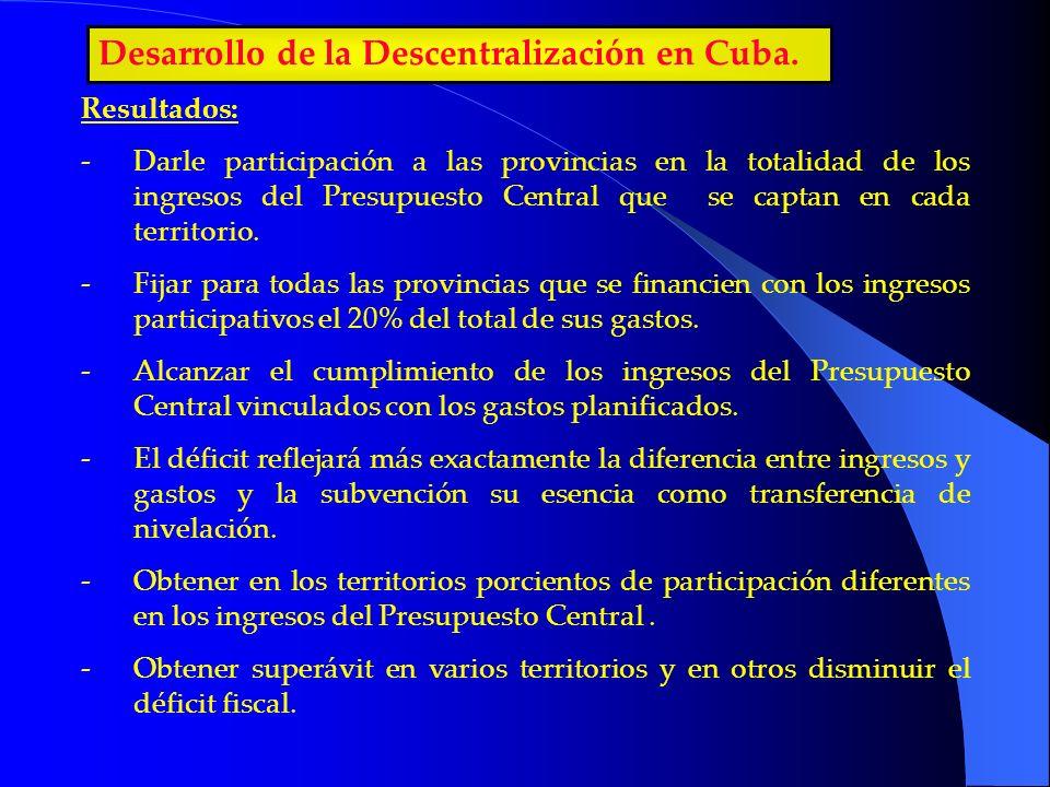 Desarrollo de la Descentralización en Cuba. Resultados: -Darle participación a las provincias en la totalidad de los ingresos del Presupuesto Central