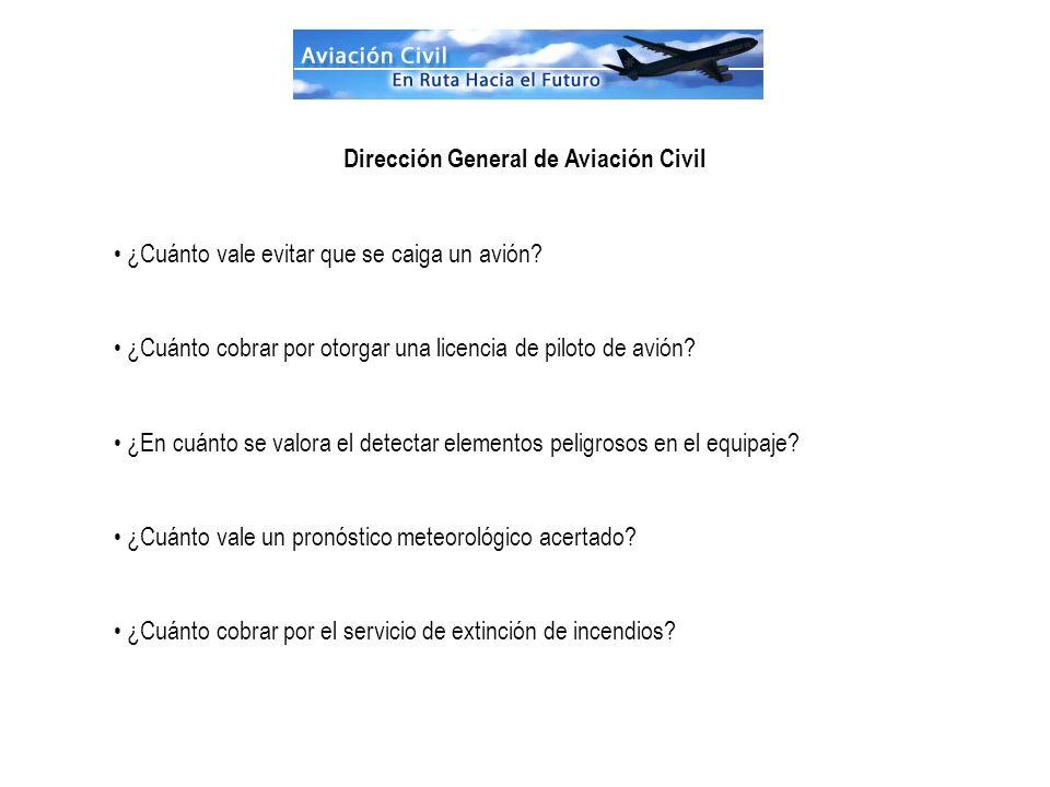 Dirección General de Aviación Civil ¿Cuánto vale evitar que se caiga un avión? ¿Cuánto cobrar por otorgar una licencia de piloto de avión? ¿En cuánto