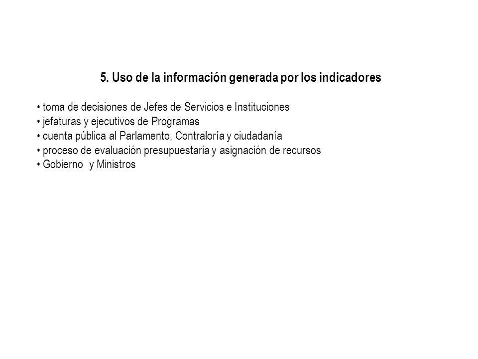 5. Uso de la información generada por los indicadores toma de decisiones de Jefes de Servicios e Instituciones jefaturas y ejecutivos de Programas cue