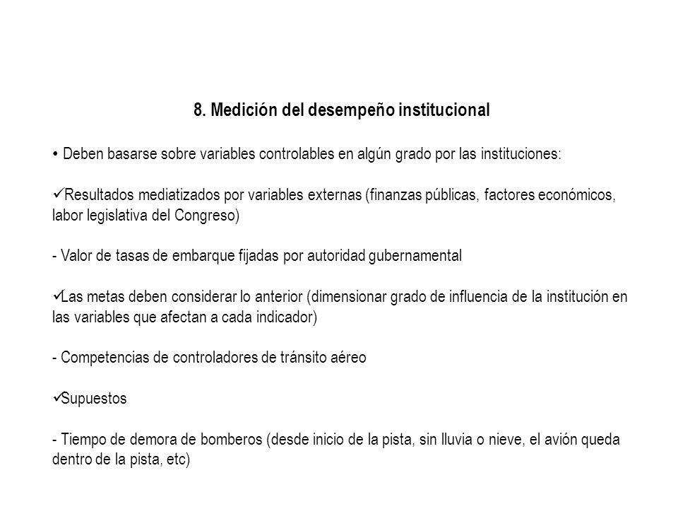 8. Medición del desempeño institucional Deben basarse sobre variables controlables en algún grado por las instituciones: Resultados mediatizados por v