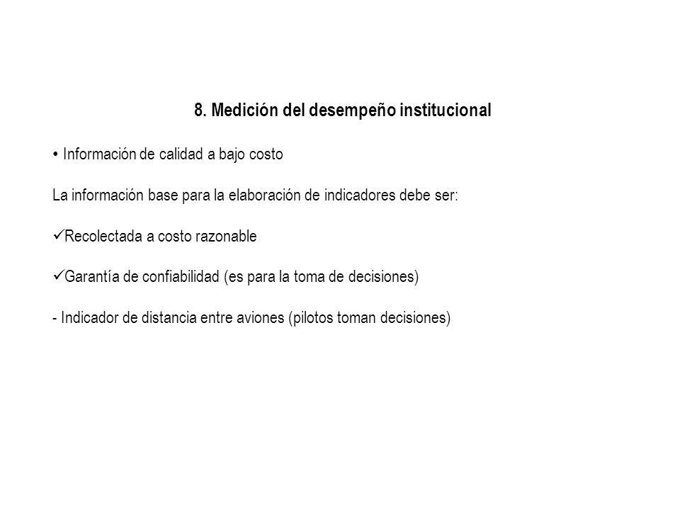 8. Medición del desempeño institucional Información de calidad a bajo costo La información base para la elaboración de indicadores debe ser: Recolecta
