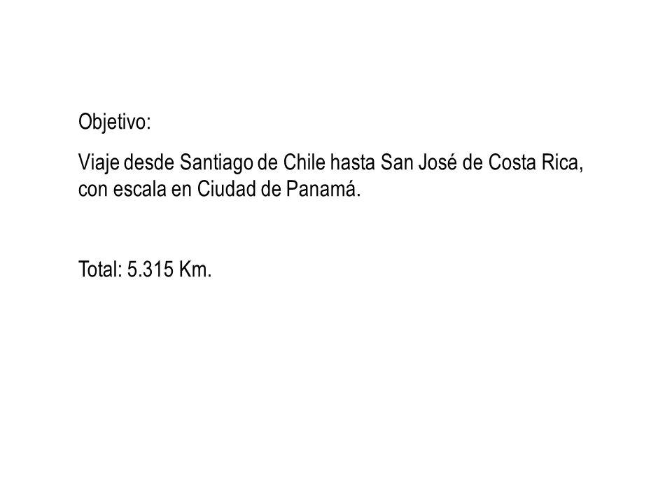Objetivo: Viaje desde Santiago de Chile hasta San José de Costa Rica, con escala en Ciudad de Panamá. Total: 5.315 Km.