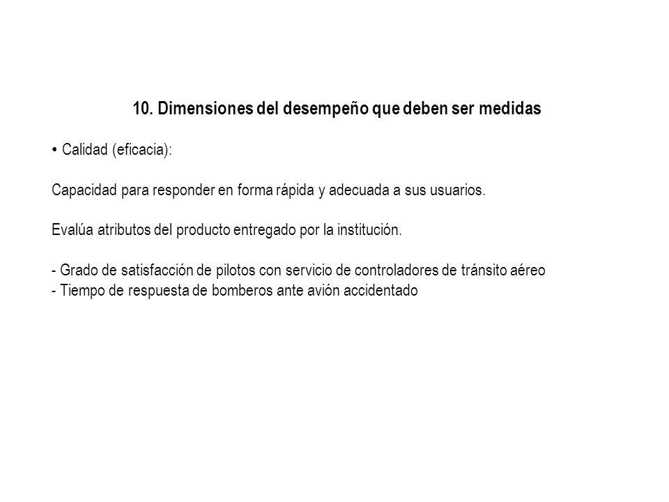 10. Dimensiones del desempeño que deben ser medidas Calidad (eficacia): Capacidad para responder en forma rápida y adecuada a sus usuarios. Evalúa atr