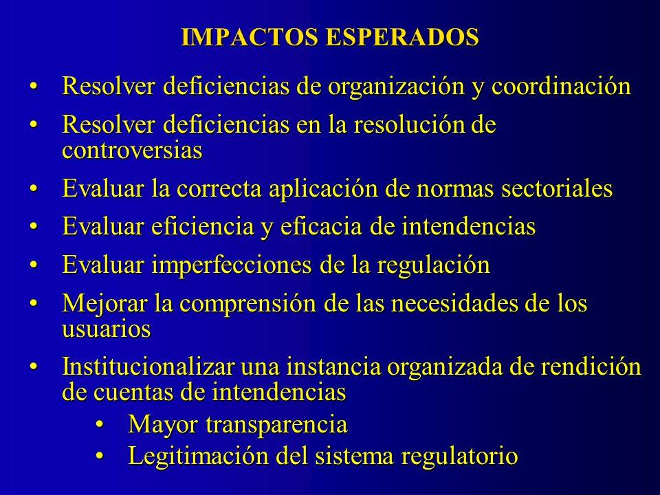 IMPACTOS ESPERADOS Resolver deficiencias de organización y coordinaciónResolver deficiencias de organización y coordinación Resolver deficiencias en la resolución de controversiasResolver deficiencias en la resolución de controversias Evaluar la correcta aplicación de normas sectorialesEvaluar la correcta aplicación de normas sectoriales Evaluar eficiencia y eficacia de intendenciasEvaluar eficiencia y eficacia de intendencias Evaluar imperfecciones de la regulaciónEvaluar imperfecciones de la regulación Mejorar la comprensión de las necesidades de los usuariosMejorar la comprensión de las necesidades de los usuarios Institucionalizar una instancia organizada de rendición de cuentas de intendenciasInstitucionalizar una instancia organizada de rendición de cuentas de intendencias Mayor transparenciaMayor transparencia Legitimación del sistema regulatorioLegitimación del sistema regulatorio