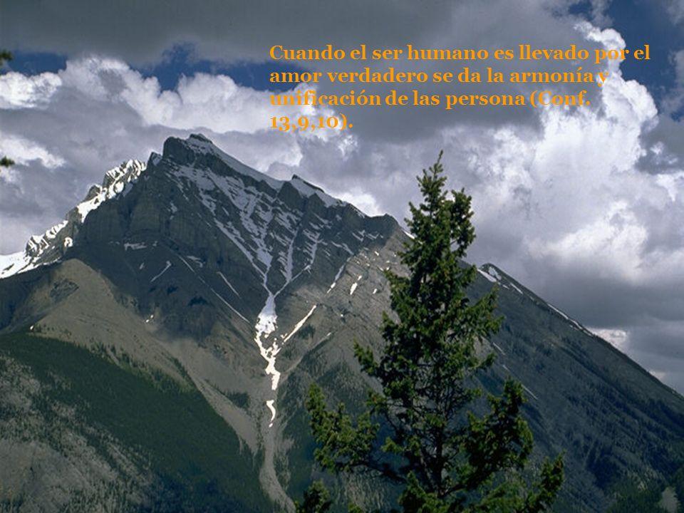 Cuando el ser humano es llevado por el amor verdadero se da la armonía y unificación de las persona (Conf. 13,9,10).