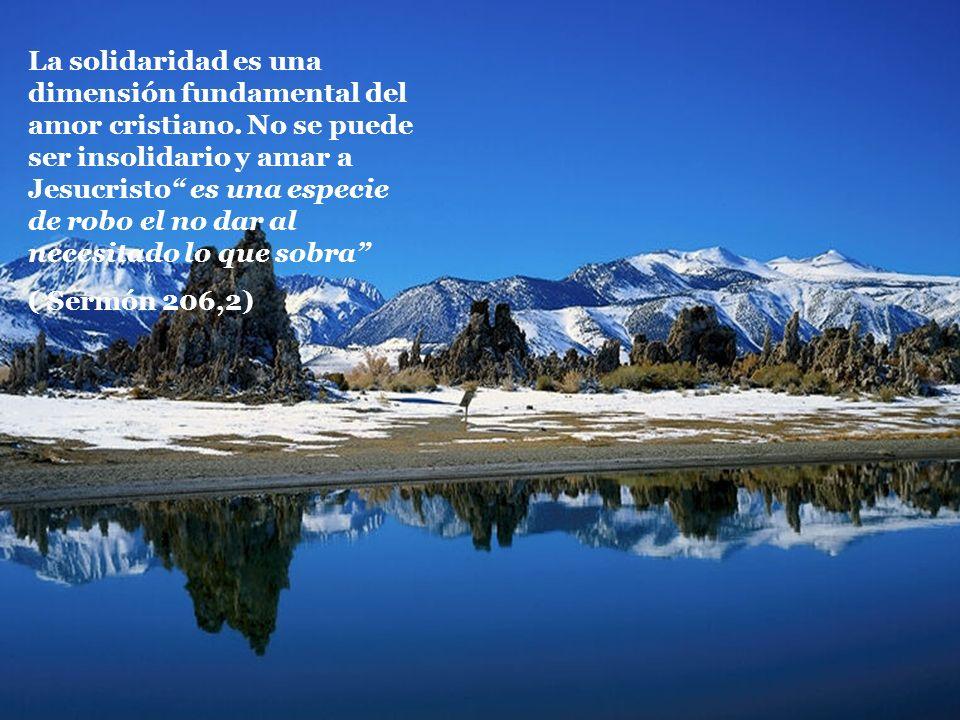 La solidaridad es una dimensión fundamental del amor cristiano. No se puede ser insolidario y amar a Jesucristo es una especie de robo el no dar al ne