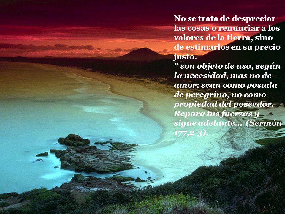 No se trata de despreciar las cosas o renunciar a los valores de la tierra, sino de estimarlos en su precio justo. son objeto de uso, según la necesid