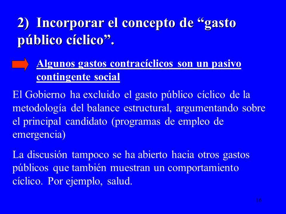 16 2) Incorporar el concepto de gasto público cíclico. El Gobierno ha excluido el gasto público cíclico de la metodología del balance estructural, arg