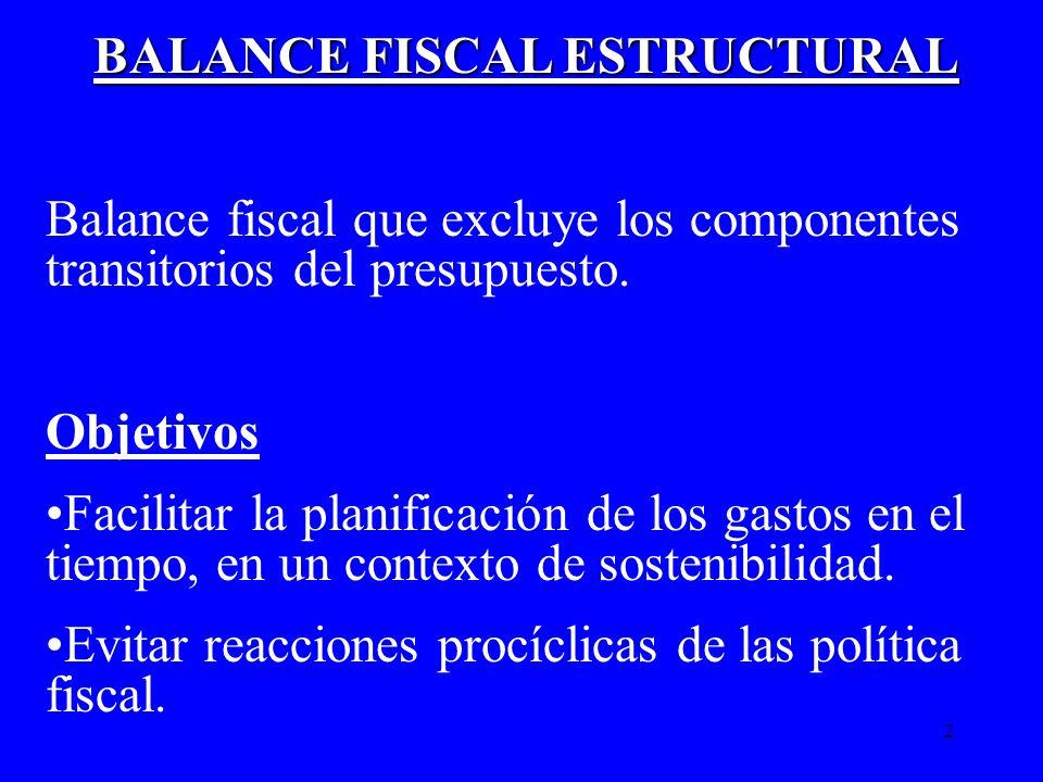 2 BALANCE FISCAL ESTRUCTURAL Balance fiscal que excluye los componentes transitorios del presupuesto. Objetivos Facilitar la planificación de los gast
