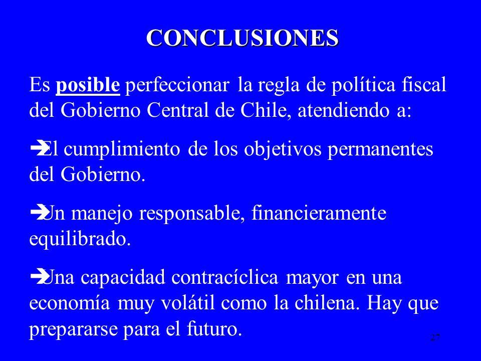 27 CONCLUSIONES Es posible perfeccionar la regla de política fiscal del Gobierno Central de Chile, atendiendo a: èEl cumplimiento de los objetivos per