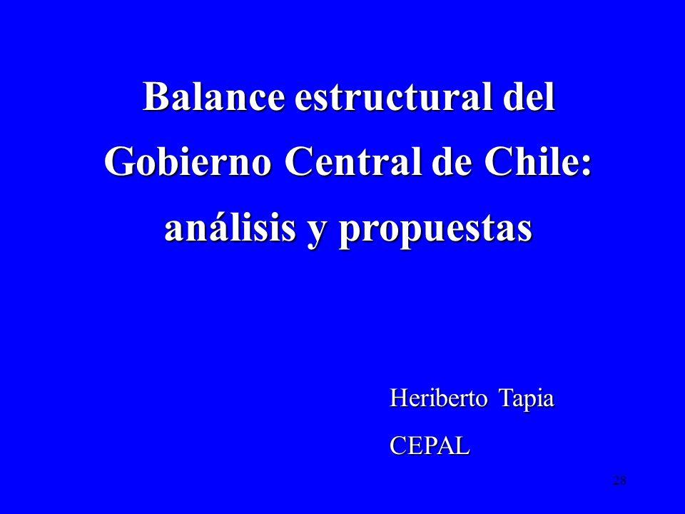 28 Balance estructural del Gobierno Central de Chile: análisis y propuestas Heriberto Tapia CEPAL