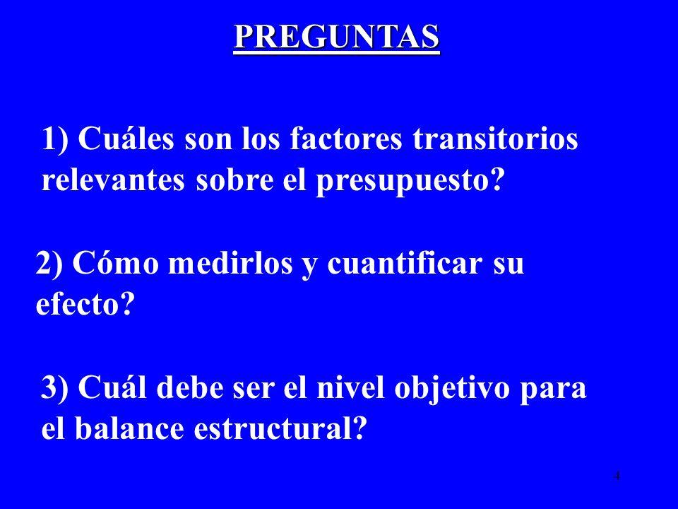 4 PREGUNTAS 2) Cómo medirlos y cuantificar su efecto? 3) Cuál debe ser el nivel objetivo para el balance estructural? 1) Cuáles son los factores trans