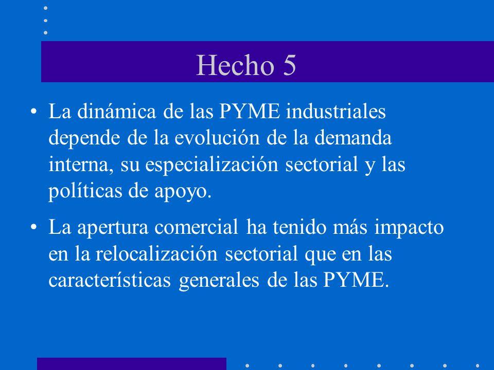 Hecho 5 La dinámica de las PYME industriales depende de la evolución de la demanda interna, su especialización sectorial y las políticas de apoyo. La