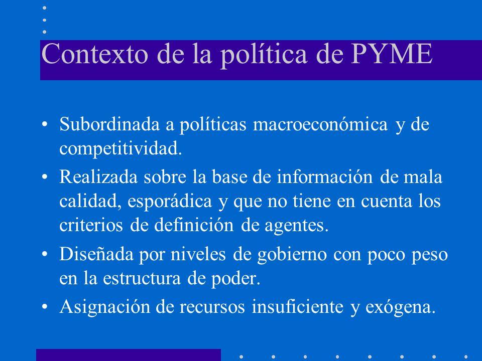 Contexto de la política de PYME Subordinada a políticas macroeconómica y de competitividad.