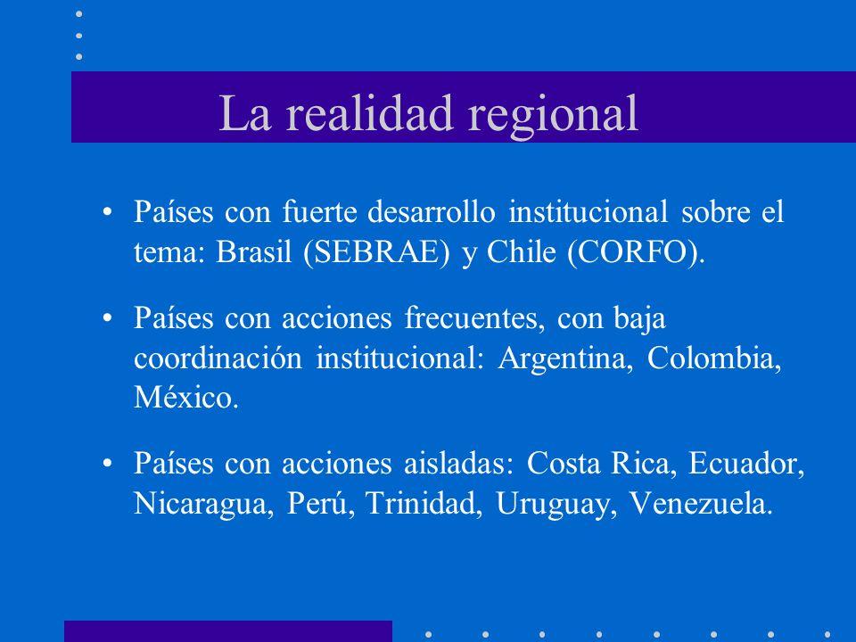La realidad regional Países con fuerte desarrollo institucional sobre el tema: Brasil (SEBRAE) y Chile (CORFO). Países con acciones frecuentes, con ba