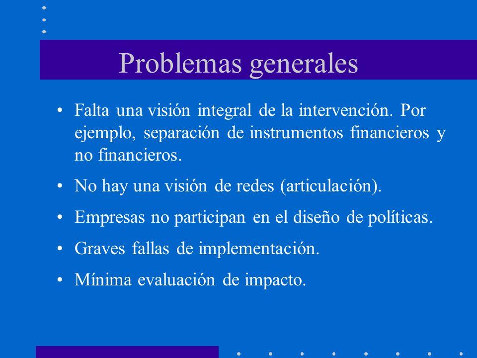 Problemas generales Falta una visión integral de la intervención. Por ejemplo, separación de instrumentos financieros y no financieros. No hay una vis
