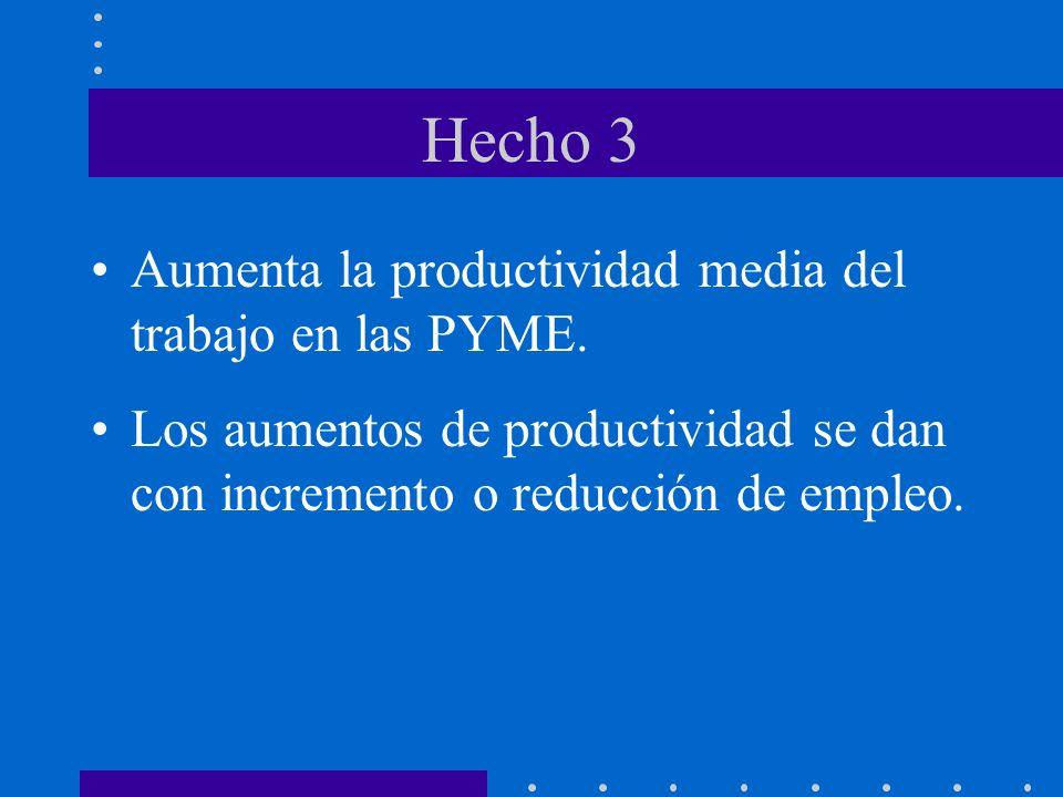 Hecho 3 Aumenta la productividad media del trabajo en las PYME. Los aumentos de productividad se dan con incremento o reducción de empleo.