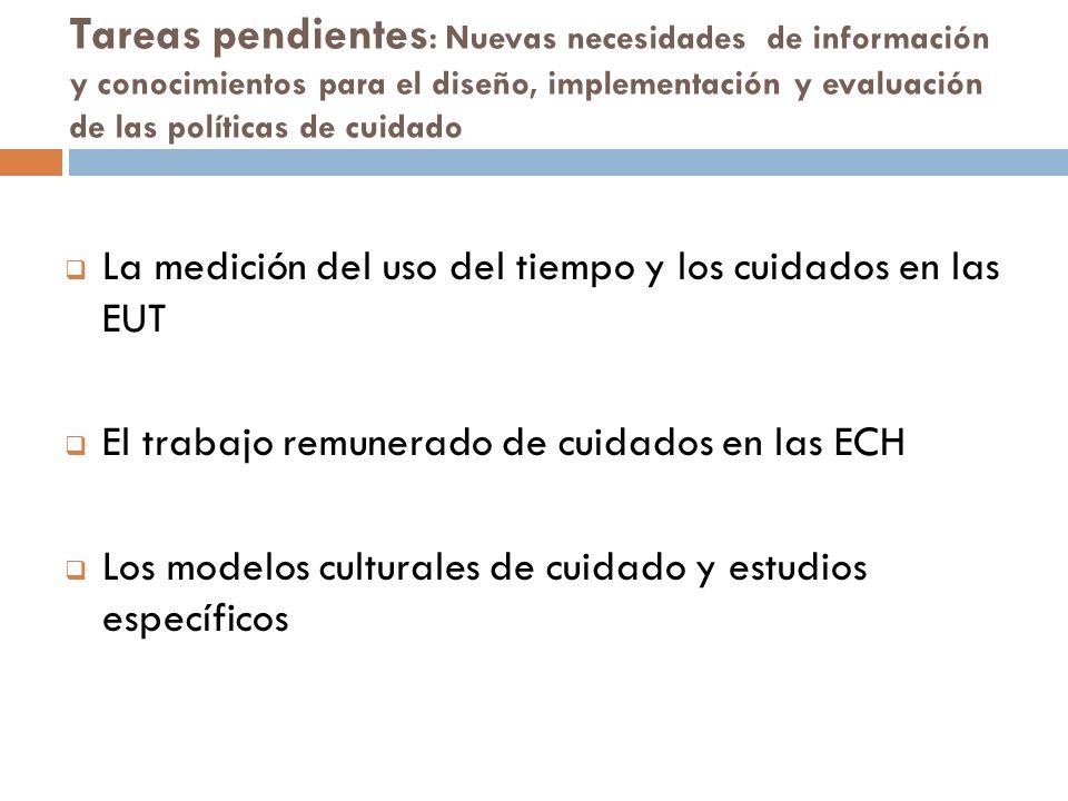 Tareas pendientes : Nuevas necesidades de información y conocimientos para el diseño, implementación y evaluación de las políticas de cuidado La medic