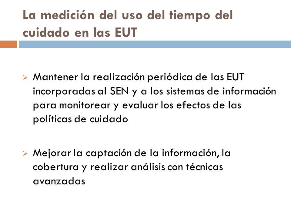 La medición del uso del tiempo del cuidado en las EUT Mantener la realización periódica de las EUT incorporadas al SEN y a los sistemas de información