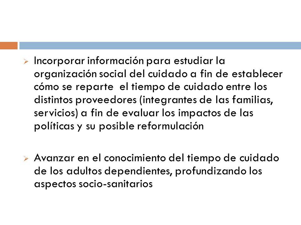 Incorporar información para estudiar la organización social del cuidado a fin de establecer cómo se reparte el tiempo de cuidado entre los distintos p