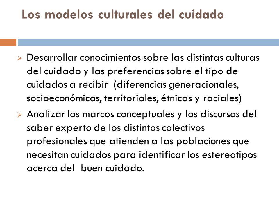 Los modelos culturales del cuidado Desarrollar conocimientos sobre las distintas culturas del cuidado y las preferencias sobre el tipo de cuidados a r
