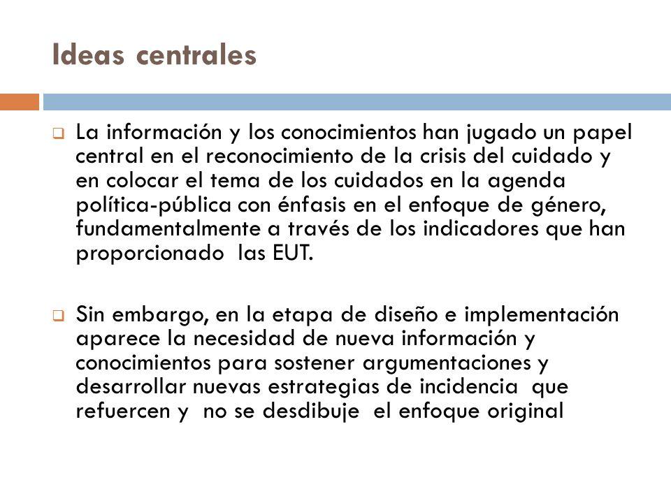 Ideas centrales La información y los conocimientos han jugado un papel central en el reconocimiento de la crisis del cuidado y en colocar el tema de l