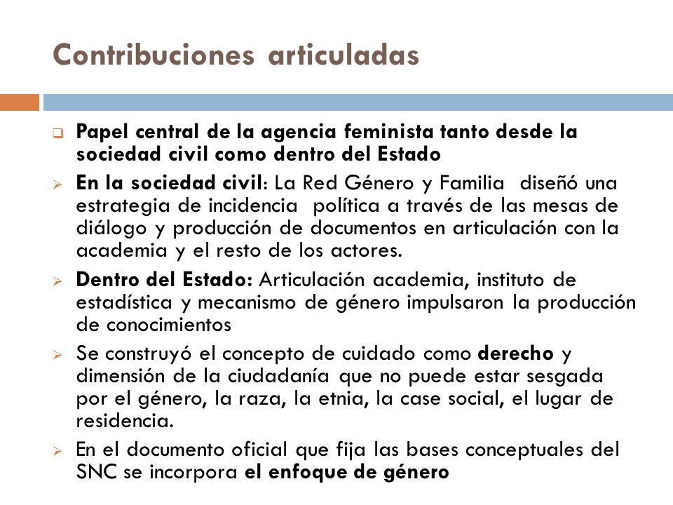 Contribuciones articuladas Papel central de la agencia feminista tanto desde la sociedad civil como dentro del Estado En la sociedad civil: La Red Gén