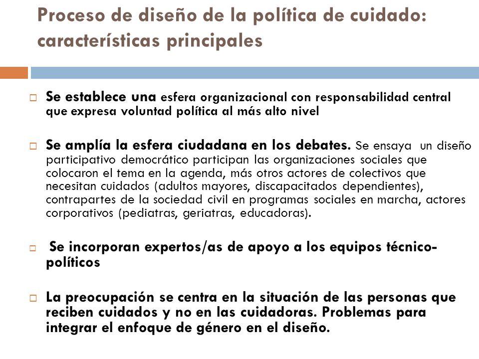 Proceso de diseño de la política de cuidado: características principales Se establece una esfera organizacional con responsabilidad central que expres
