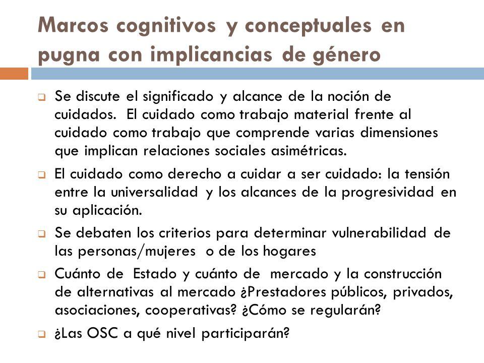 Marcos cognitivos y conceptuales en pugna con implicancias de género Se discute el significado y alcance de la noción de cuidados. El cuidado como tra