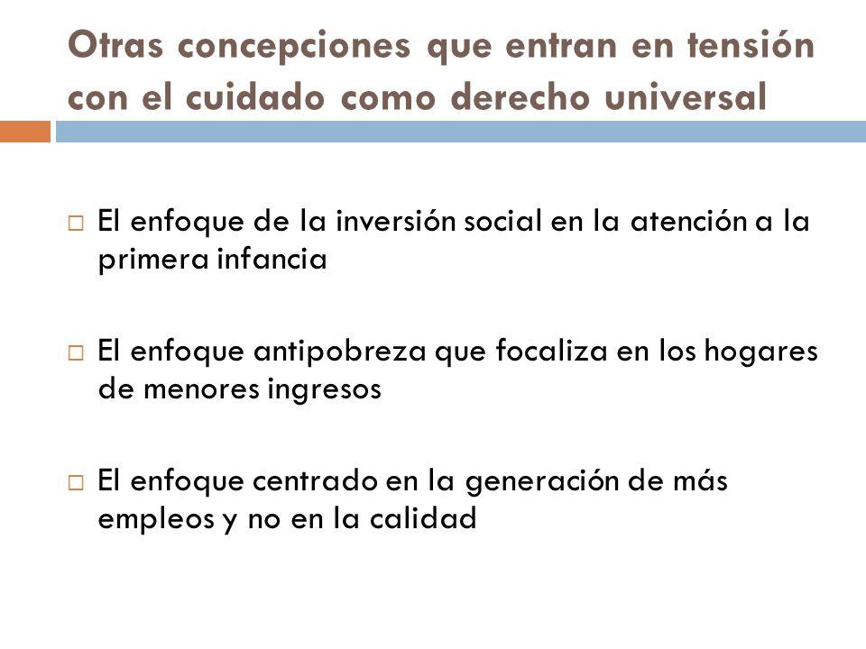 Otras concepciones que entran en tensión con el cuidado como derecho universal El enfoque de la inversión social en la atención a la primera infancia